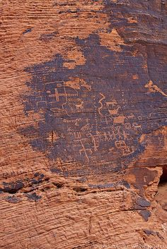 ancient petroglyphs in Valley of Fire State Park, Nevada.  on Flickr by dwinning