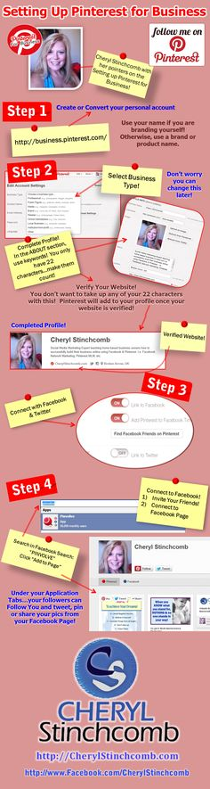 4 Simple Steps to setting up your Pinterest account for business!  For more pinterest training CLICK http://www.facebook.com/cherylstinchcomb  #infographic #pinterest #business