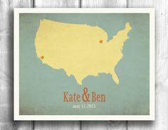 Wedding Sign Personalized  Engagement Gift State Map by Mapity