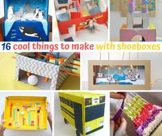 16 cool things to make with shoeboxes Create And Craft, Crafts To Make, Crafts For Kids, Palette Swing, Diy Recycle, Recycling, Shoebox Crafts, Diy Toys And Games, Train Crafts