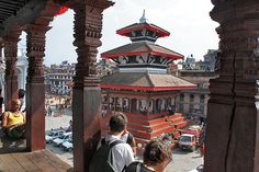 View of Durbar Square in Kathmandu, Nepal from atop a temple