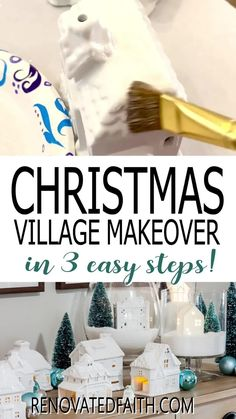 """You won't believe the before photo!  This easy step-by-step tutorial and video shows you how to give your Christmas village or nativity scene display a makeover with paint and a little clear glitter. This vintage village makeover can also work on a nativity set, no matter the colors.  Included are display ideas to give it a """"wood and white"""" look. Thrifted Christmas Village Makeover Makeover.  Dollar Store Elegant Christmas Decor, Simple Christmas, Christmas Tree Decorations, Christmas Trees, Xmas, Christmas Ornaments, Christmas Crafts For Adults, Holiday Crafts, Holiday Decor"""