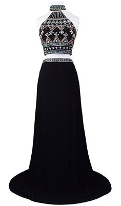 Women's Two Piece Rhinestone High Neck Pageant Prom Party Dress