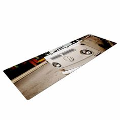 "Angie Turner ""VW Bus"" White Vintage Yoga Mat"