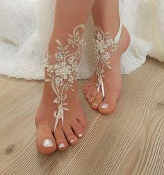 Ivory Gold Beaded Pearl Frame Beach Wedding Barefoot Sandals Y Anklet Bellydance Steampunk Pool