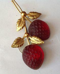 Austria Fruit Pin Crystal Strawberries