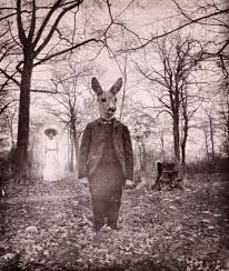 The Meeting in the Woods by Katrine Kalleklev. Digital photomontage with vintage photos. Animal Head Masks, Animal Heads, Spirit Photography, Animal Photography, Creepy Photography, Surrealism Photography, Halloween Photos, Vintage Halloween, Vintage Fall