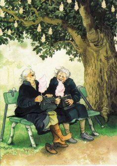 Kunstpostkarte - Inge Löök : Zwei Damen mit Zuckerwatte