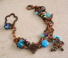 Vintage bronze bracelet Teal glass beads multi-strands bracelet