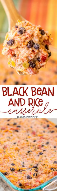 Black Bean and Rice Casserole - a quick and easy Mexican side dish! Can make ahead and refrigerate until ready to bake. Black beans, diced tomatoes and green chiles, tomato sauce, salsa, rice, sour cream and cheddar cheese. Makes a ton!!! Can serve as a side dish or meatless main dish. Also great served with chips for a dip. We LOVE this easy side dish recipe!