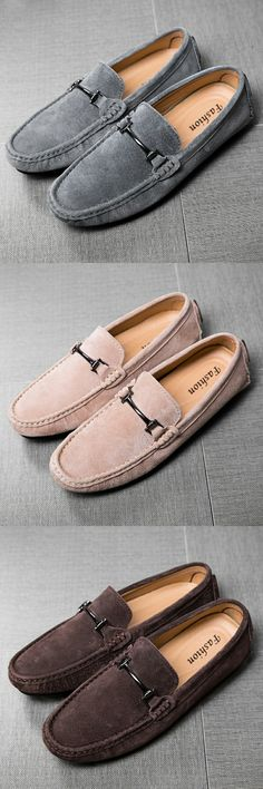 US $29.05 <Click to buy> Luxury Brand Retro Vingtage Urban Suede Men Loafers Shoes Breathable Leather Driving Shoe Soft Comfy Horsebit Decoration