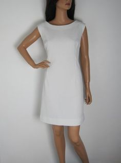 Vintage 1960s White Fitted Shift Dress available to buy online at Virtual Vintage Clothing £32