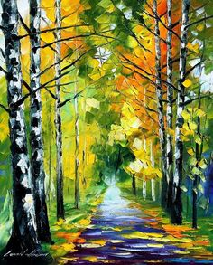Original Recreation Oil Painting on Canvas This is the best possible quality of recreation made by Leonid Afremov in person.  Title: Birches Size: 20 x 24 inches (50 cm x 60 cm) Condition: Excellent Brand new Gallery Estimated Value: $ 3,500  Type: Original Recreation Oil Painting on Canvas by Palette Knife  This is a recreation of a piece which was already sold.  The recreation is 100% hand painted by Leonid Afremov using oil paint, canvas and palette knife.  Its not an identical copy , its…