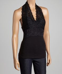 Another great find on #zulily! Black Lace Halter Top by Zenana #zulilyfinds
