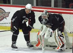 Brandon Montour with John Gibson, Practice, Photo by DPPI, aka Some Guy.