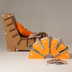 #Yoko is a magazine rack made of corrugated cardboard, with a design inspired by the Orient. The unique radial shape will allow you to put order in your magazines and newspapers. #magazinerack #ecofriendlydesign #ecofurniture http://eco-and-you.com/shop/yoko/