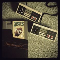 My childhood. ❤ #Nintendo #SuperMarioBros it funny how the control only had 2 buttons now they 8 buttons n other shit