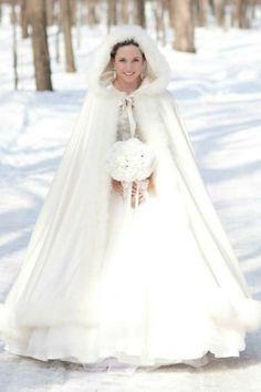 Winter wedding dress, fur cape