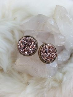 Druzy Gold Earrings, Bronze Earrings, Druzy Stud Earrings, Druzy Jewelry