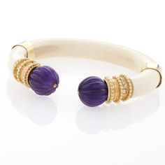 BOUCHERON Gold, Amethyst and Ivory Bracelet Amethyst Jewelry, Rose Gold Jewelry, Gold Jewellery, Boucheron Jewelry, Where To Buy Gold, Black Opal Ring, Antique Bracelets, Hand Chain, Royal Jewelry