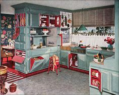 1950's kitchen, love the colors and the fact that everything has a specific place