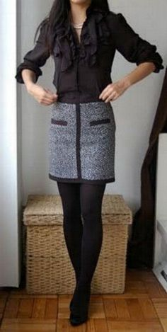 Black & White tweed miniskirt, high heels, tights