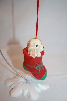 """Resin ? Dog in Red Stocking Christmas Tree Ornament Green Toe Bow 3.50"""" Puppy #Unknown"""