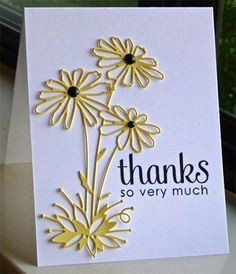handmade thank you card... clean and simple ... one layer ... die cut line art daisies ... mixed font sentiment ...