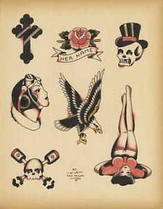 Tattoo flash -skull, cross, eagle.