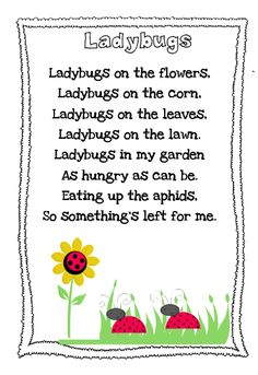 The Very Busy Kindergarten: Ladybug Poem Freebie