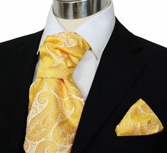Gold Paisley Men's Ascot Tie and Pocket Square (A90-3)