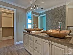Bathroom - dual sinks - wood vessel sinks - mosaic tile wall - Palm River in Naples, FL
