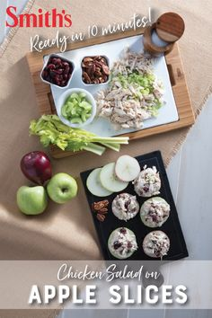 Chicken Salad on Apple Slices These sweet and crunchy apple slices are the perfect appetizer for your fall get together! Source by hickmancounty Keto Recipes, Cooking Recipes, Healthy Recipes, Grilling Recipes, Healthy Snacks, Healthy Eating, Apple Slices, Tasty Dishes, Salads