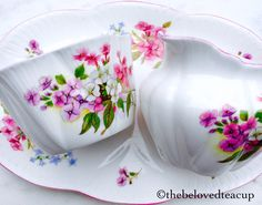 English Pottery, Sugar Spoon, Cream And Sugar, Pansies, Cup And Saucer, Tea Cups, Tray, Delicate, Antique