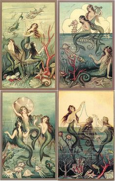 FuckYeahVintage-Retro Art Deco Mermaids by Chiostri (via) I really want this artwork esp the upper right corner one Real Mermaids, Mermaids And Mermen, Fantasy Mermaids, Fantasy Kunst, Fantasy Art, Art And Illustration, Mermaid Artwork, Mermaid Paintings, Mermaid Fairy