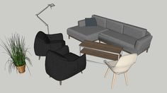 Large preview of 3D Model of Collection of Lounge Furniture
