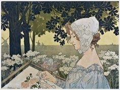 "Henri Privat-Livemont (Belgium, 1861-1936) ""La brodeuse"" 1904"