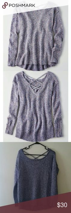 AE cross-back Sweater Gray/multi-colored threaded sweater with a cross-back pattern. Never worn! American Eagle Outfitters Sweaters