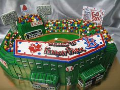 "Boston Red Sox ""Welcome To Fenway Park"" Banner Wedding Cake (View #1)"