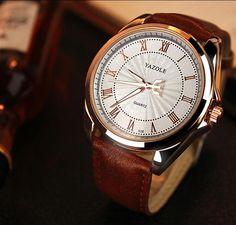 Men's Stainless Steel Bezel White Classic Dial Watch Black Leather Strap Wristwatch - blingkinguk