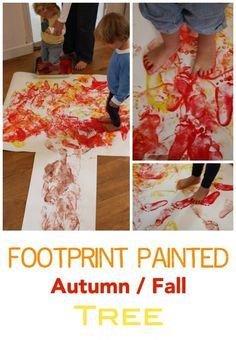 This is a wonderful way to paint a Fall - Autumn tree. Great collaborative painting idea and kids absolutely love walking in paint!!