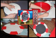 Decor and Activities for Nautical Kids Birthday Party Event Buoy, Life Preserver, Deck, Trampoline, Bounce House, Hula Hoops, Balls, Red, White, Blue, DIY, Event, Signage, Faux Chalkboard, Jet Ski, pinwheels, Sailing, Sail, Pirate, lifesaver, life saver, water, beach, ocean, decor, decorations