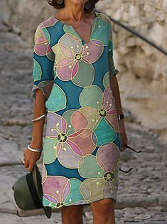 Half Sleeve Dresses, Knee Length Dresses, Half Sleeves, Dresses With Sleeves, Manga Floral, Vestidos Vintage, Mini Vestidos, Casual Dresses, Short Dresses