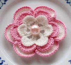 Crochet Puff Flower Larger Crochet Flower in 3 inches YH Crochet Puff Flower, Crochet Flower Tutorial, Crochet Flower Patterns, Love Crochet, Crochet Motif, Beautiful Crochet, Irish Crochet, Crochet Flowers, Crochet Stitches