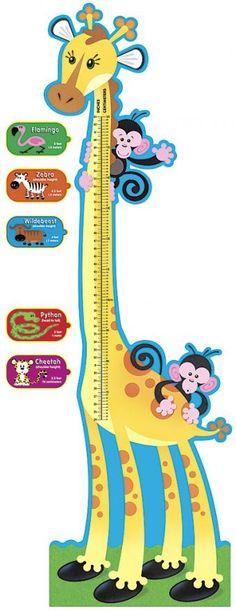Increíble tabla para medir estaturas de los pequeñines en pulgadas y centímetros, con una graciosa jirafita. www.lacasadelaeducadora.com