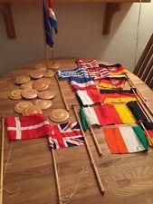 16 Wimpel - Holzstangen Flaggen - Europa Deutschland - Tischflagge Fahne