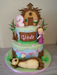 Baby Birthday Cakes, Bear Birthday, 6th Birthday Parties, Cake Icing, Fondant Cakes, Masha Cake, Marsha And The Bear, Beautiful Birthday Cakes, Character Cakes