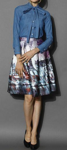 Elusive Riverside Print Pleated Midi Skirt