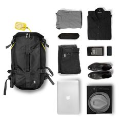 ee79a8ac8c6d7 Track Jack Barrel Backpack and things organised neatly Urban Fashion