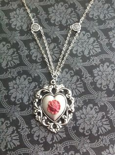 Hey, I found this really awesome Etsy listing at https://www.etsy.com/listing/492703132/shabby-chic-pink-rose-heart-necklace